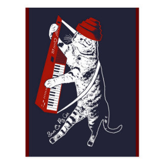 stuff on my cat - keytar postcard