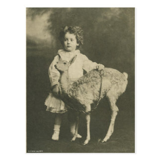 stuffed animal with child postcard
