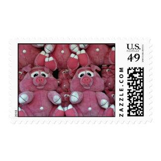 Stuffed animals at amusement park postage stamp