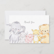 Stuffed Animals Baby Shower Sprinkle Thank You Card