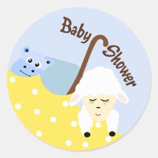 Stuffed Animals Blue Baby Shower Sticker
