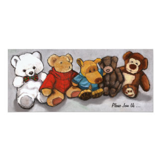 Stuffed Animals in Oil Pastel: Painting, Art Card