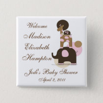 Stuffed Animals in Pink Personalized Button