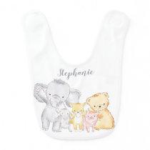 Stuffed Animals Monogrammed Baby Bib