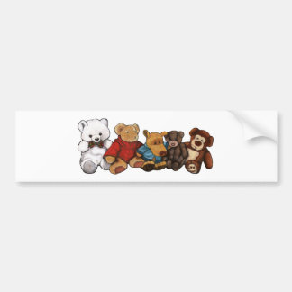 Stuffed Animals, Teddy Bears, Oil Pastel Art Bumper Sticker