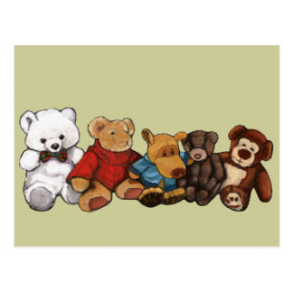 Stuffed Animals, Teddy Bears, Oil Pastel Art Postcard