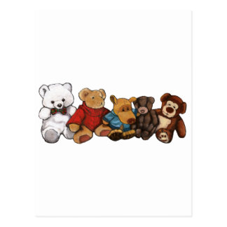 Stuffed Animals, Teddy Bears, Oil Pastel Art Postcard