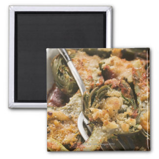 Stuffed artichokes with gratin topping 2 inch square magnet