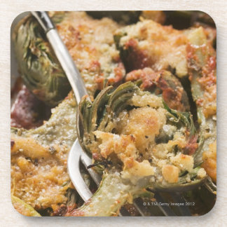 Stuffed artichokes with gratin topping beverage coaster