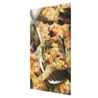 Stuffed artichokes with gratin topping canvas print