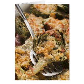 Stuffed artichokes with gratin topping card