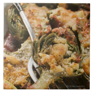 Stuffed artichokes with gratin topping ceramic tile