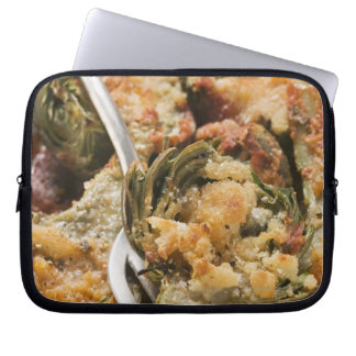 Stuffed artichokes with gratin topping computer sleeve
