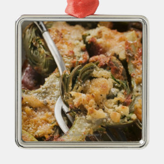 Stuffed artichokes with gratin topping metal ornament