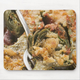 Stuffed artichokes with gratin topping mouse pad