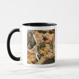 Stuffed artichokes with gratin topping mug