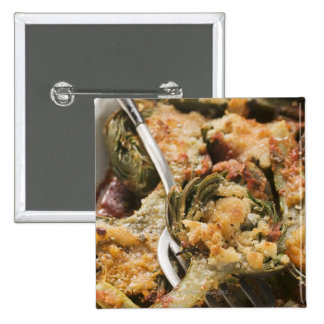 Stuffed artichokes with gratin topping pinback button