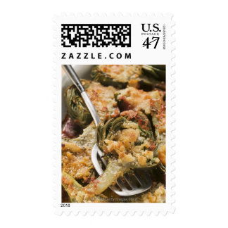 Stuffed artichokes with gratin topping postage stamp