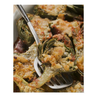 Stuffed artichokes with gratin topping poster