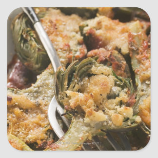Stuffed artichokes with gratin topping square sticker
