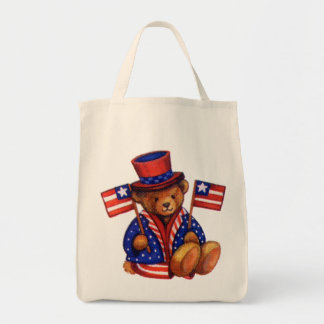 Stuffed Bear With A top Hat And 2 Flags Red White Bags