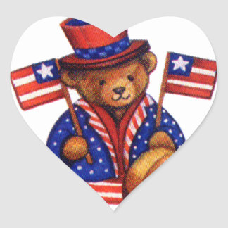 Stuffed Bear With A top Hat And 2 Flags Red White Heart Sticker