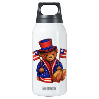 Stuffed Bear With A top Hat And 2 Flags Red White Insulated Water Bottle