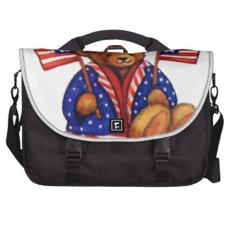 Stuffed Bear With A top Hat And 2 Flags Red White Laptop Commuter Bag