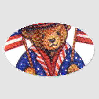 Stuffed Bear With A top Hat And 2 Flags Red White Oval Sticker