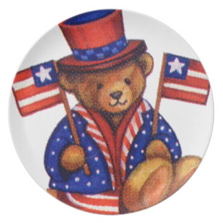 Stuffed Bear With A top Hat And 2 Flags Red White Dinner Plate
