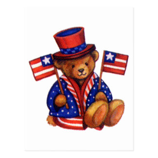 Stuffed Bear With A top Hat And 2 Flags Red White Post Card