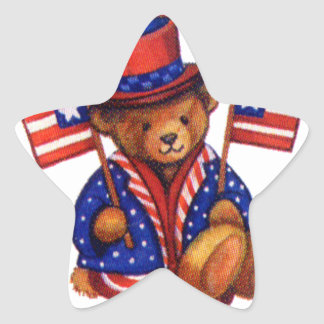 Stuffed Bear With A top Hat And 2 Flags Red White Star Sticker