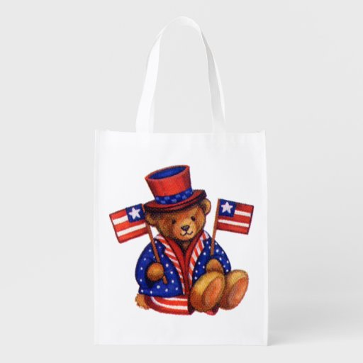 Stuffed Bear With A top Hat And 2 Flags Red White Grocery Bag