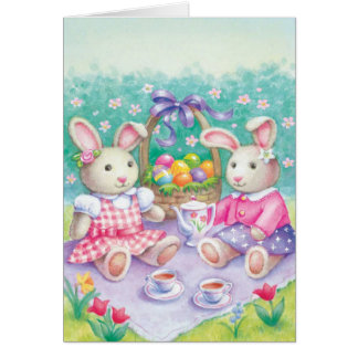 Stuffed bunnies at lunch Easter customizable card