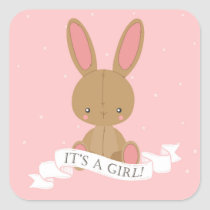Stuffed Bunny Rabbit It's A Girl! Pink Baby Shower Square Sticker