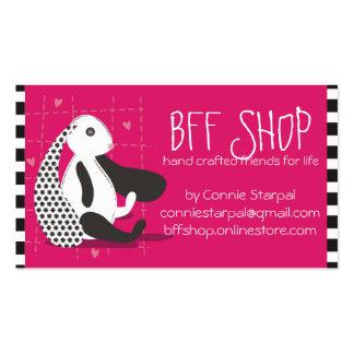 Stuffed bunny stuffie handmade toys seamstress business card