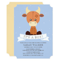 Stuffed Cow Blue Yellow It's a Boy! Baby Shower Invitation
