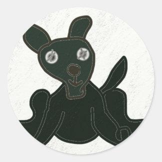 stuffed puppy round sticker