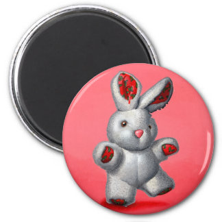 Stuffed rabbit 2 inch round magnet