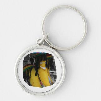 Stuffed rasta banana at fairgrounds Silver-Colored round keychain