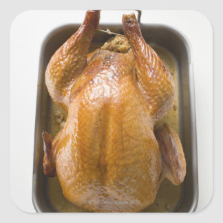 Stuffed roast turkey in roasting tray, close up square sticker