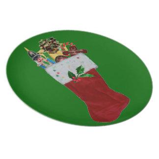 Stuffed Stocking Melamine Plate