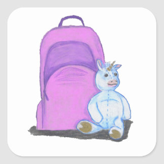 Stuffed Unicorn sits by a purple school Backpack Square Sticker