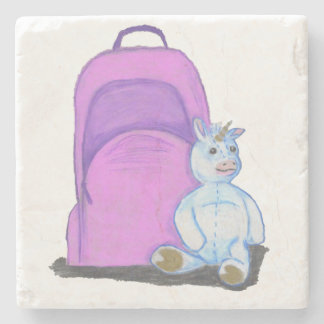 Stuffed Unicorn sits by a purple school Backpack Stone Coaster