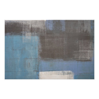 'Stumbled' Grey and Blue Abstract Art Poster Print