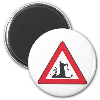 Stumbling Wildlife (Deer roadsign) 2 Inch Round Magnet