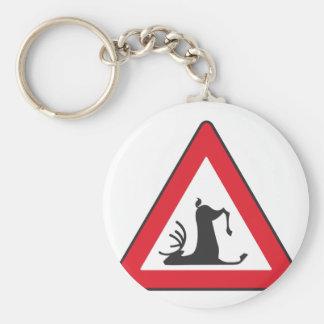 Stumbling Wildlife (Deer roadsign) Basic Round Button Keychain