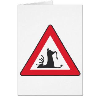 Stumbling Wildlife (Deer roadsign) Card