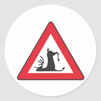 Stumbling Wildlife (Deer roadsign) Classic Round Sticker