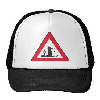 Stumbling Wildlife Deer roadsign Mesh Hats